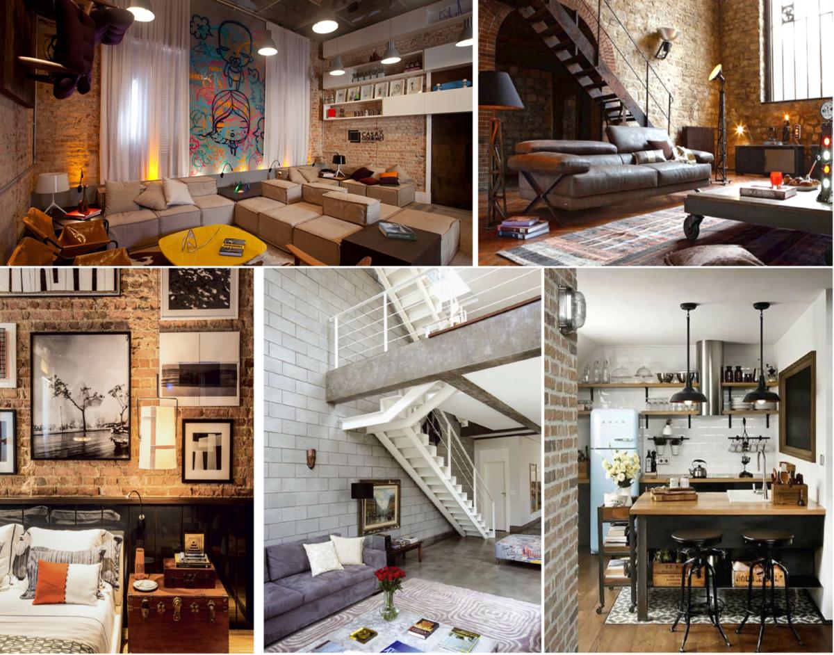 tendência, estilo Industrial, decoração, design de interiores